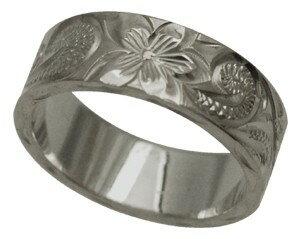 ハワイアンジュエリー リング 指輪 オーダーメイド 重厚な立体感2mm厚 幅8mm 14K ゴールド ホワイトゴールド フラットリング ハワイ製 手彫りリング メンズ レディース 結婚指輪 マリッジリング ウェディングリング 2号-28号