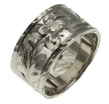 ハワイアンジュエリー リング 指輪 オーダーメイド お手軽な1.0mm厚 幅10mm 14K ゴールド ホワイトゴールド フラットリング ハワイ製 手彫りリング メンズ レディース 結婚指輪 マリッジリング ウェディングリング 2号-28号
