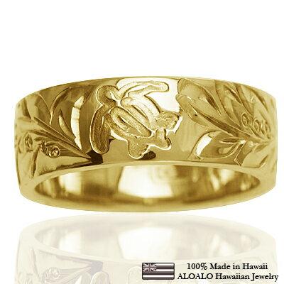 ハワイアンジュエリー リング 指輪 オーダーメイド 1.25mm厚 幅6mm 14K ゴールド イエローゴールド フラットリング ハワイ製 手彫りリング メンズ レディース 結婚指輪 マリッジリング ウェディングリング 2号-28号
