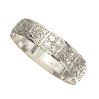 夏威夷人珠宝手镯手镯本格定做银子手镯桶可靠的1.75mm厚18mm能选的设计以及样式人分歧D Fra手雕刻刻图章夏威夷制造袖口银子925 5.5英寸~9英寸订货