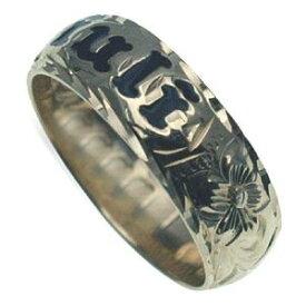 ハワイアンジュエリー リング 指輪 オーダーメイド 1.75mm厚 幅6mm スターリングシルバー925 エナメルレター バレルリング ハワイ製 手彫りリング メンズ レディース 結婚指輪 マリッジリング ウェディングリング 2号-28号