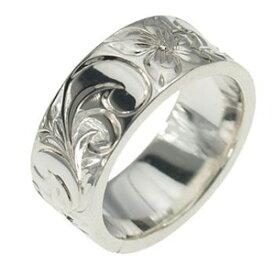 ハワイアンジュエリー リング 指輪 オーダーメイド 1.75mm厚 幅8mm フラットリング メンズ レディース シルバー925 ハワイ製 手彫りリング 0号-28号