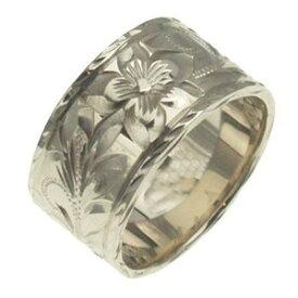 ハワイアンジュエリー リング 指輪 オーダーメイド 1.75mm厚 幅10mm フラットリング メンズ レディース シルバー925 ハワイ製 手彫りリング 0号-28号