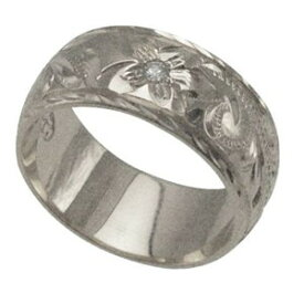 ハワイアンジュエリー リング 指輪 オーダーメイド 1.75mm厚 幅8mm ダイヤ バレルリング メンズ レディース シルバー925 ダイヤモンド ハワイ製 手彫りリング 0号-28号