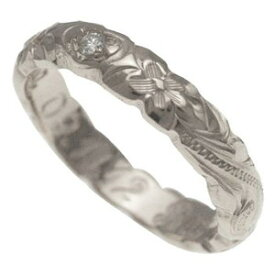 ハワイアンジュエリー リング 指輪 オーダーメイド 1.75mm厚 幅4mm ダイヤ バレルリング メンズ レディース シルバー925 ダイヤモンドハワイ製 手彫りリング 0号-28号