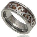 ハワイアンジュエリー リング 指輪 8mm コアウッドリング メンズ レディース 刻印 ハワイアンコアウッド 波 スクロー…
