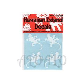 メール便OK! ハワイアン アイランド ディケール 防水ステッカー 4ゲッコー ホワイト