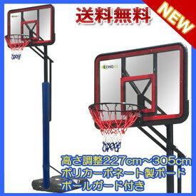 【エコーフィット】ポールガード付きポリカーボネート製バスケットゴール ミニバスから公式まで対応 EC-9100【送料無料】【商品代引き不可】