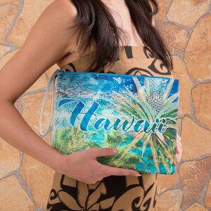 ハワイアンポーチバッグ コスメポーチ パイナップル ハワインポーチ タブレットケース ミニバッグ ハワイアン雑貨