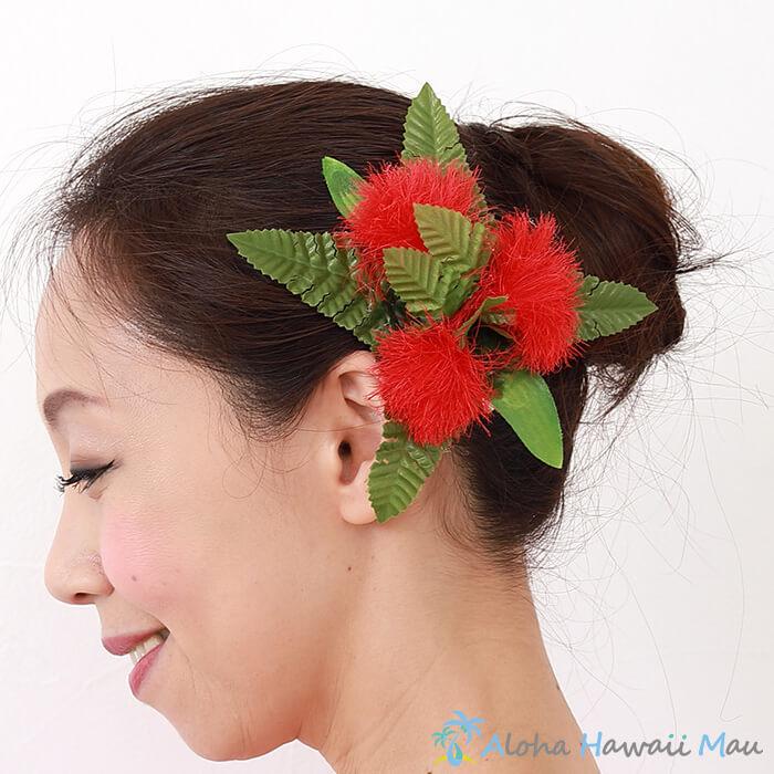 フラダンス 髪飾り オヒアレフア髪飾り レッド オヒアレフアヘアクリップ 造花 赤 髪飾り レフア ハワイ ハワイ 結婚式 リゾートウエディング ホイケ 発表会 ヘアクリップ 花