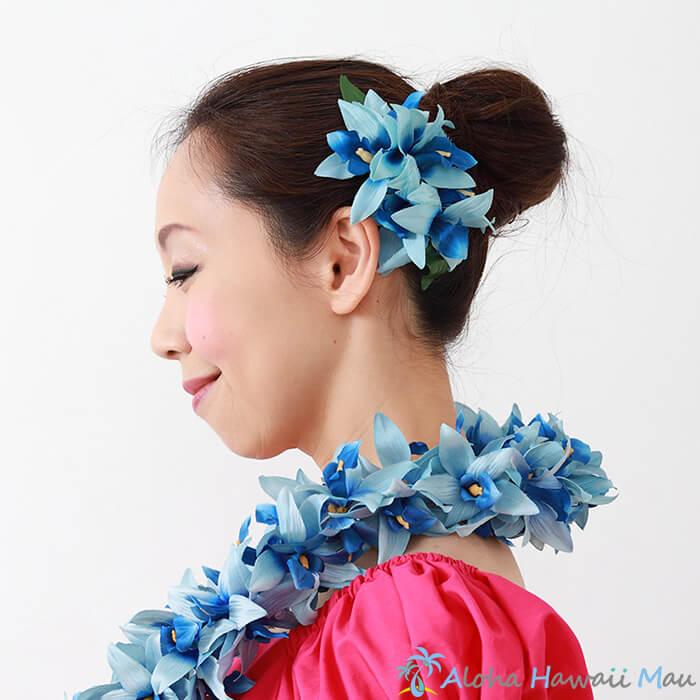 フラダンス 髪飾り バンダオーキッドヘアクリップ ブルー ヘアアクセサリー 造花 青色 髪飾り オーキッド ハワイ ハワイ 結婚式 リゾートウエディング ホイケ 発表会 ヘアクリップ 花