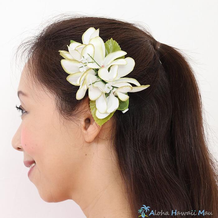 フラダンス 髪飾り プルメリア ホワイトグリーン プルメリアヘアクリップ フラ 花 フラダンス 衣装 ハワイ フラワークリップ リゾートウエディング 髪飾り プルメリア 造花