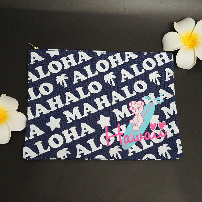 送料無料!サマンサタバサ ハワイ限定 クラッチ バッグ可愛いデザイン、ハワイデザイン♪ノベルティでもらったピンクのショッピングトートも一緒にお届け♪※在庫限り!完売後の次回入荷なし!