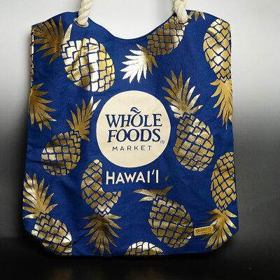 WHOLEFOODS(ホールフーズ)トートデラックスハワイ大人気オーガニックスーパーのショッピングトートバック!エコバッグ、ハワイ限定!厚手生地、しっかりの持ち手のデラックスバージョン!