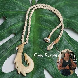 ボーンカービング ネックレスSami Design 1点モノ★再入荷無し★Prestage Enamel フィッシュフック ハワイの伝統的貴重な素材の骨天然素材を使っているため、傷などありますが、それが神々しい風合い!