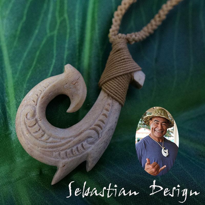 フィッシュフック ハワイアンジュエリーSebastian Design 1点モノ【再入荷無し】フック Left ハワイの伝統的貴重な素材の骨