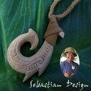 フィッシュフック ハワイアンジュエリー ボーンカービング ボーンフックSebastian Design 1点モノ【再入荷無し】フック Left ハワイの伝統的貴...