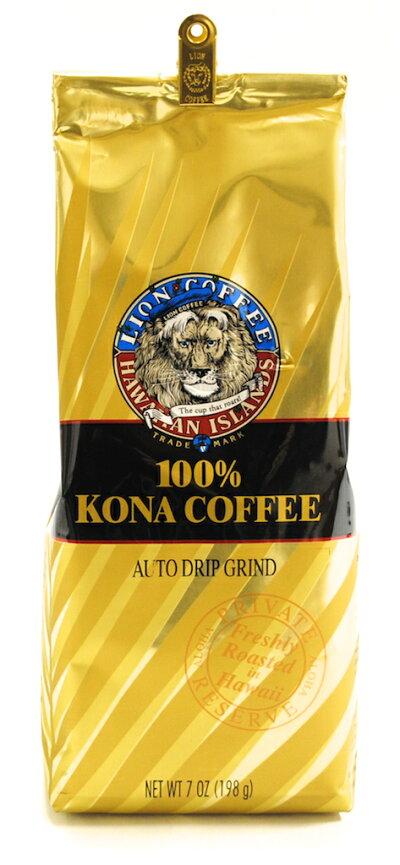 ※入荷待ち11/7(月)出荷!ライオンコーヒーKona24Karat100%7oz(198g)6480円以上で送料無料!(沖縄を除く)ハワイのお土産の定番!ハワイの味!Newパッケージになりました!