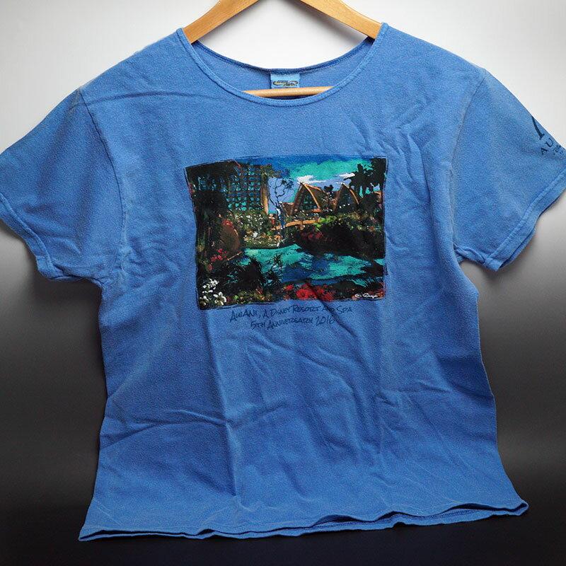 ハワイ限定!ディズニー&クレイジーシャツのコラボTシャツ女性用 ブルーハワイ染色※日本のワンサイズ下が目安です。例:日本サイズMの場合、アメリカSサイズ。