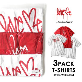 Love me ラブミー 3PACK Tシャツ (White×2 Red×1) on American Apparel カーティス・クーリグ アメリカンアパレル【SPS03】