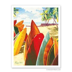 【ハワイアン アートプリント】ビーチ・海・山・植物・景色・風景Surfboards - Hawaiian Stacked Surfboards (Papa He'e Nalu)(サーフボード)(Peggy Chun)ハワイアン インテリア・アート・絵画・アーティスト