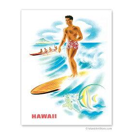 【ハワイアン アートプリント】ビーチ・海・山・植物・景色・風景Matson Lines to Hawaii, Surfer and OutriggerFrank Macintosh, Travel Poster c.1940's<マトソン航空ポスター>ハワイアン インテリア・アート・絵画・アーティスト