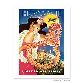 【ハワイアン アートプリント】ビーチ・海・山・植物・景色・風景Hawaii, United Air Lines, Hawaiian Girl with Leis(レイを持つ女性)Travel Poster by Joseph Feher<ユナイテッド航空ポスター>ハワイアン インテリア・アート・絵画・アーティスト