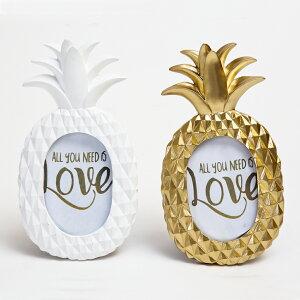 【パイナップル型フォトフレーム】パイナップル・ゴールド・ホワイトハワイアン インテリア・フォトフレーム・写真立て・置物・雑貨