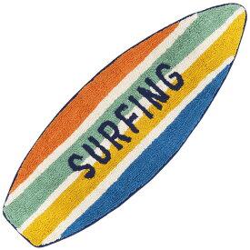 サーフボード型 マット ハワイアン インテリア 雑貨 サーフィン 玄関マット 室内マット 屋内マット キッチンマット バスマット ラグ (ラインサーフィン Lサイズ) リゾート マリン ビーチ カリフォルニア 西海岸 LA おしゃれ