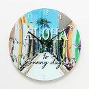 ハワイアンな掛け時計!美しいハワイの風景をガラスの壁掛け時計に!