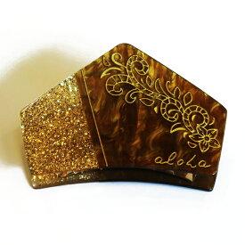 【キランヘアクリップ】<ゴールド&ブラウン&べっ甲>ヘアアクセサリー・ヘアクリップ・髪飾り・ヘアピンレディースハワイアンアクセサリー