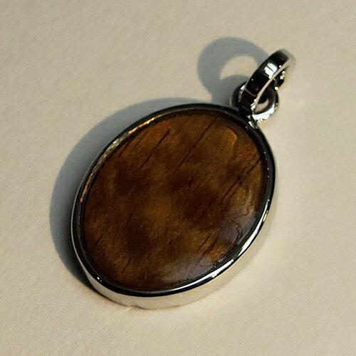 【ハワイアンジュエリー】コアウッド×シルバー 楕円形 ネックレス(ペンダントトップ) レディース