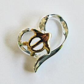 【ハワイアンジュエリー】ハート&ホヌ(ウミガメ・海亀)ネックレス(ペンダントトップ)シルバー製レディース