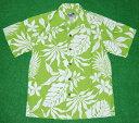 アロハシャツ PARADISE STYLE(パラダイス スタイル) PSS035 半袖 メンズ ライムグリーン×ホワイト(黄緑×白) ツートーン ハワイアン柄 プルメリア・モンステラ コットン35%ポ