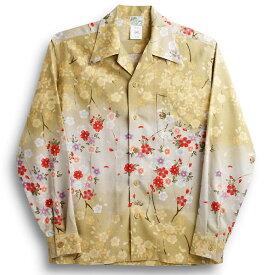 長袖アロハシャツ LALAKAI(ララカイ) HL012NLBE ベージュ 和柄 花柄(桜) オリエンタルシルク(シルクノイル)100% 開襟(オープンカラー) 送料無料商品