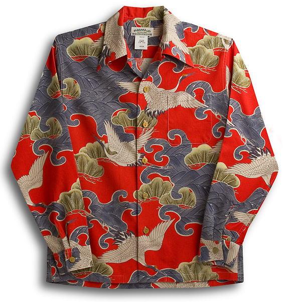 長袖アロハシャツ|LALAKAI(ララカイ)|HL019NLR|レッド(赤)|和柄|鶴柄|オリエンタルシルク(シルクノイル)100%|開襟(オープンカラー)|送料無料商品