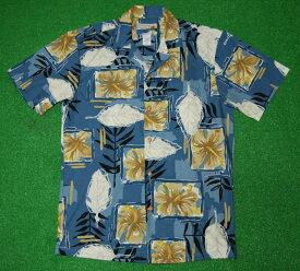 アロハシャツ|WAIMEA CASUALS(ワイメア カジュアルズ)|WC010|半袖|メンズ|ブルー|花・フラワー柄(ハイビスカス)|葉・リーフ柄(ハワイアン)|コットン100%|開襟(オープンカラー)|1万円以上お買い上げで送料無料