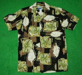アロハシャツ|WAIMEA CASUALS(ワイメア カジュアルズ)|WC015|半袖|メンズ|ブラック(黒)|花・フラワー柄(ハイビスカス)|葉・リーフ柄(ハワイアン)|コットン100%|開襟(オープンカラー)|1万円以上お買い上げで送料無料