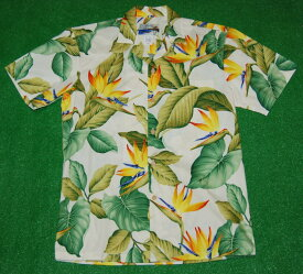 アロハシャツ|WAIMEA CASUALS(ワイメア カジュアルズ)|WC016|半袖|メンズ|オフホワイト(クリーム)|花・フラワー柄|極楽鳥花|バードオブパラダイス|葉・リーフ柄|ハワイアン|モンステラ|コットン100%|開襟(オープンカラー)|1万円以上お買い上げで送料無料