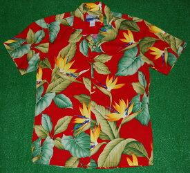 アロハシャツ|WAIMEA CASUALS(ワイメア カジュアルズ)|WC018|半袖|メンズ|レッド(赤)|花・フラワー柄|極楽鳥花|バードオブパラダイス|葉・リーフ柄|ハワイアン|モンステラ|コットン100%|開襟(オープンカラー)|1万円以上お買い上げで送料無料