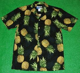 アロハシャツ|WAIMEA CASUALS(ワイメア カジュアルズ)|WC019|半袖|メンズ|ブラック(黒)|パイナップル|パイン|フルーツ|果物|ハワイアン|コットン100%|開襟(オープンカラー)|1万円以上お買い上げで送料無料