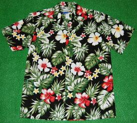 アロハシャツ|WAIMEA CASUALS(ワイメア カジュアルズ)|WC023|半袖|メンズ|ブラック(黒)|花・フラワー柄|ハイビスカス・プルメリア|葉・リーフ柄|ハワイアン|モンステラ|コットン100%|開襟(オープンカラー)|1万円以上お買い上げで送料無料