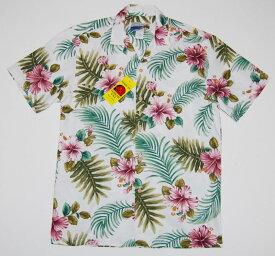アロハシャツ|WAIMEA CASUALS(ワイメア カジュアルズ)|WC025|半袖|メンズ|ホワイト(白)|花・フラワー|葉・リーフ|ハワイアン|プレゼント|結婚式|コットン100%|開襟(オープンカラー)|1万円以上お買い上げで送料無料