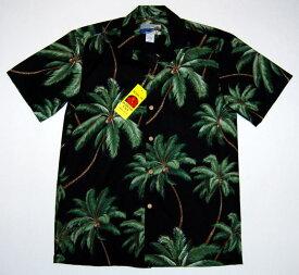 アロハシャツ|WAIMEA CASUALS(ワイメア カジュアルズ)|WC026|半袖|メンズ|ブラック(黒)|ヤシの木|ココツリー|ハワイアン|プレゼント|結婚式|コットン100%|開襟(オープンカラー)|1万円以上お買い上げで送料無料