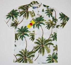 アロハシャツ|WAIMEA CASUALS(ワイメア カジュアルズ)|WC027|半袖|メンズ|ホワイト(白)|ヤシの木|ココツリー|ハワイアン|プレゼント|結婚式|コットン100%|開襟(オープンカラー)|1万円以上お買い上げで送料無料