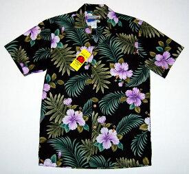アロハシャツ|WAIMEA CASUALS(ワイメア カジュアルズ)|WC029|半袖|メンズ|ブラック(黒)|花・フラワー|葉・リーフ|ハワイアン|プレゼント|結婚式|コットン100%|開襟(オープンカラー)|1万円以上お買い上げで送料無料