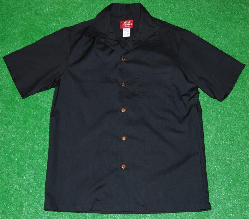 アロハシャツ AKIMI DESIGNS HAWAII(アキミ デザインズ ハワイ) COL012 半袖 メンズ ブラック(黒) 完全無地アロハ 柄無し コットン35%ポリ65% 開襟(オープンカラー) 1万円以上で送料無料