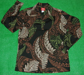長袖アロハシャツ|AKIMI DESIGNS HAWAII(アキミデザインズハワイ)|ALONG050|ブラック(黒)|葉・リーフ柄|ペイズリー風|オーバーオールパターン|コットン35%ポリ65%|開襟(オープンカラー)|送料無料