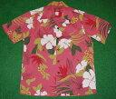 アロハシャツ|AKIMI DESIGNS HAWAII(アキミ デザインズ ハワイ)|AK196|半袖|メンズ|ピンク(サンゴピンク)|ハワイアン|リーフ・葉|フラワー・花|コットン35%ポリ65%|