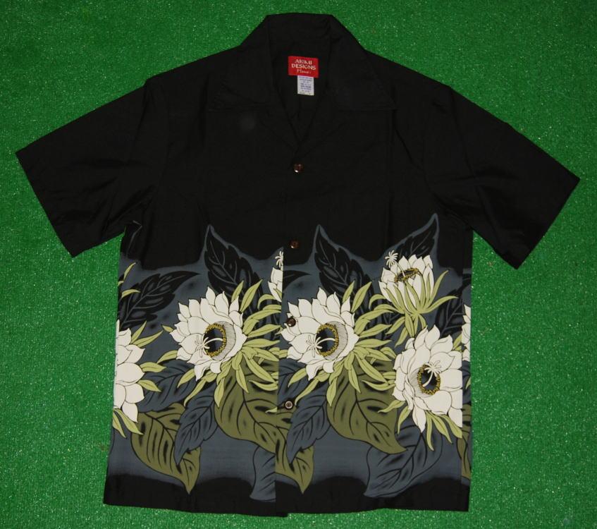 アロハシャツ AKIMI DESIGNS HAWAII(アキミ デザインズ ハワイ) AK128 半袖 メンズ ブラック(黒) 花柄(ムーンライトハニー) ボーダー柄 コットン35%ポリ65% 開襟(オープンカラー) 1万円以上で送料無料
